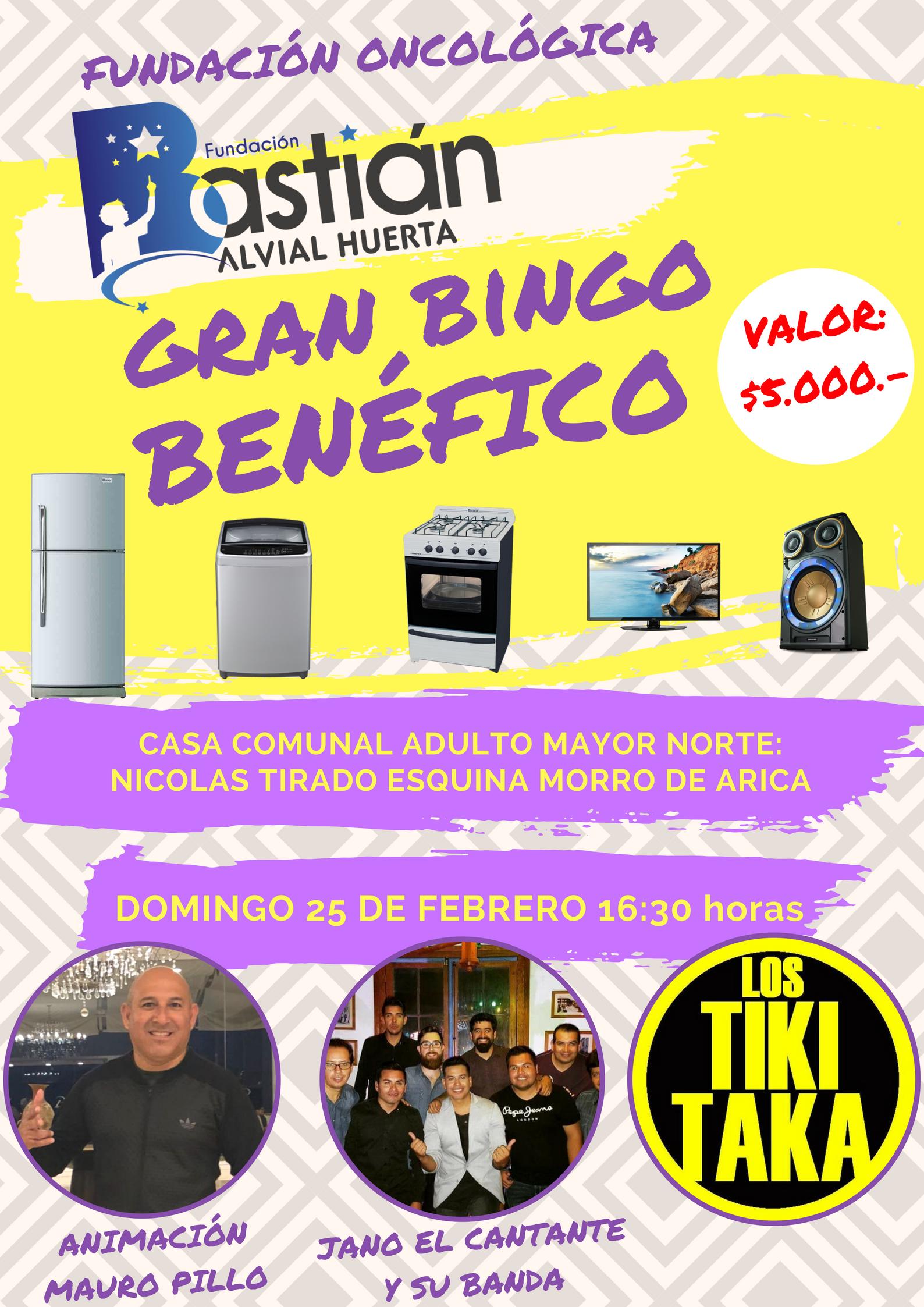 Gran Bingo a Beneficio Fundación Bastian Alvial Huerta