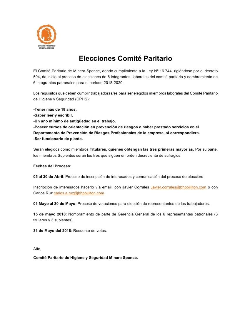 Elecciones Comité Paritario