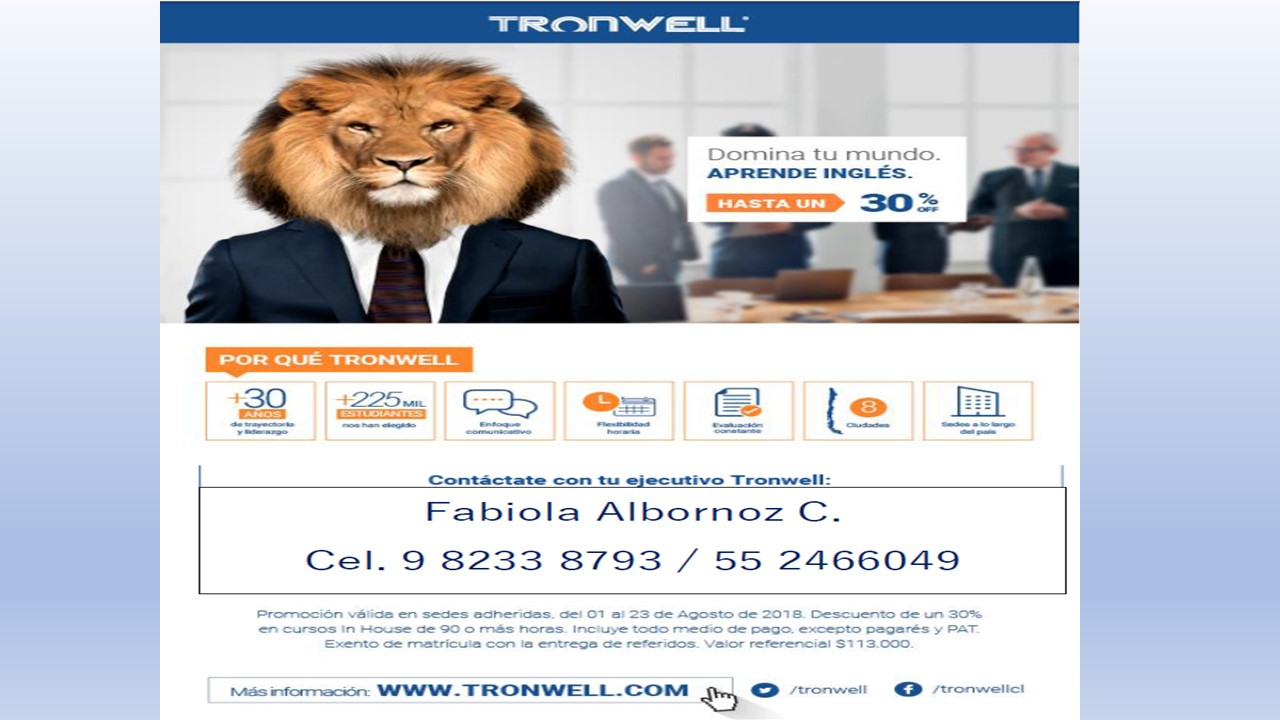 Promoción Agosto Tronwell