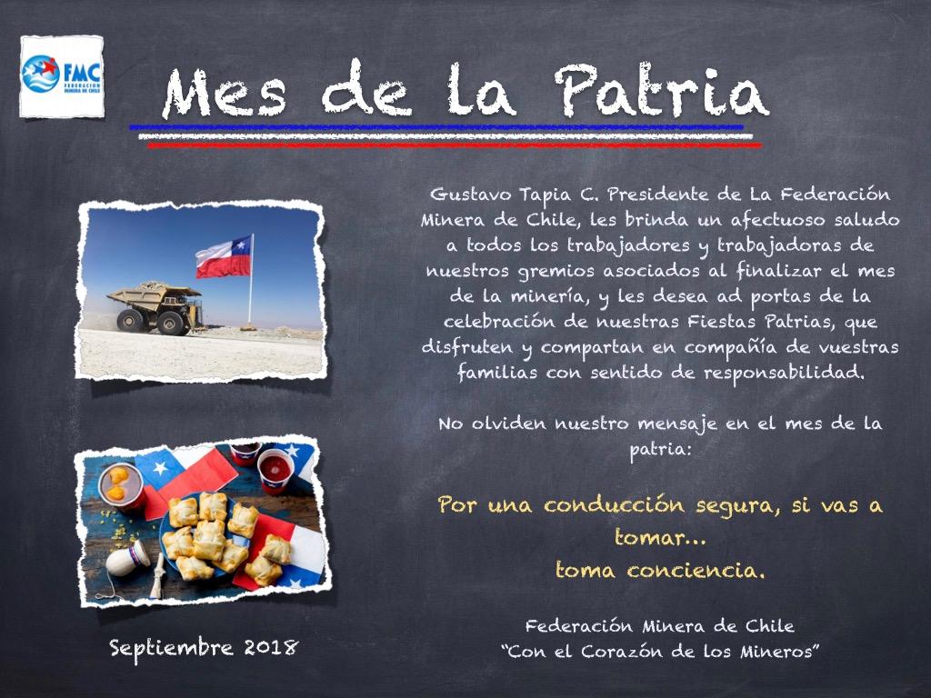 Saludo Mes de la Patria Federación Minera de Chile
