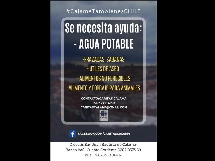 Cáritas Calama inicia campaña solidaria para ayudar a los afectados por las lluvias estivales