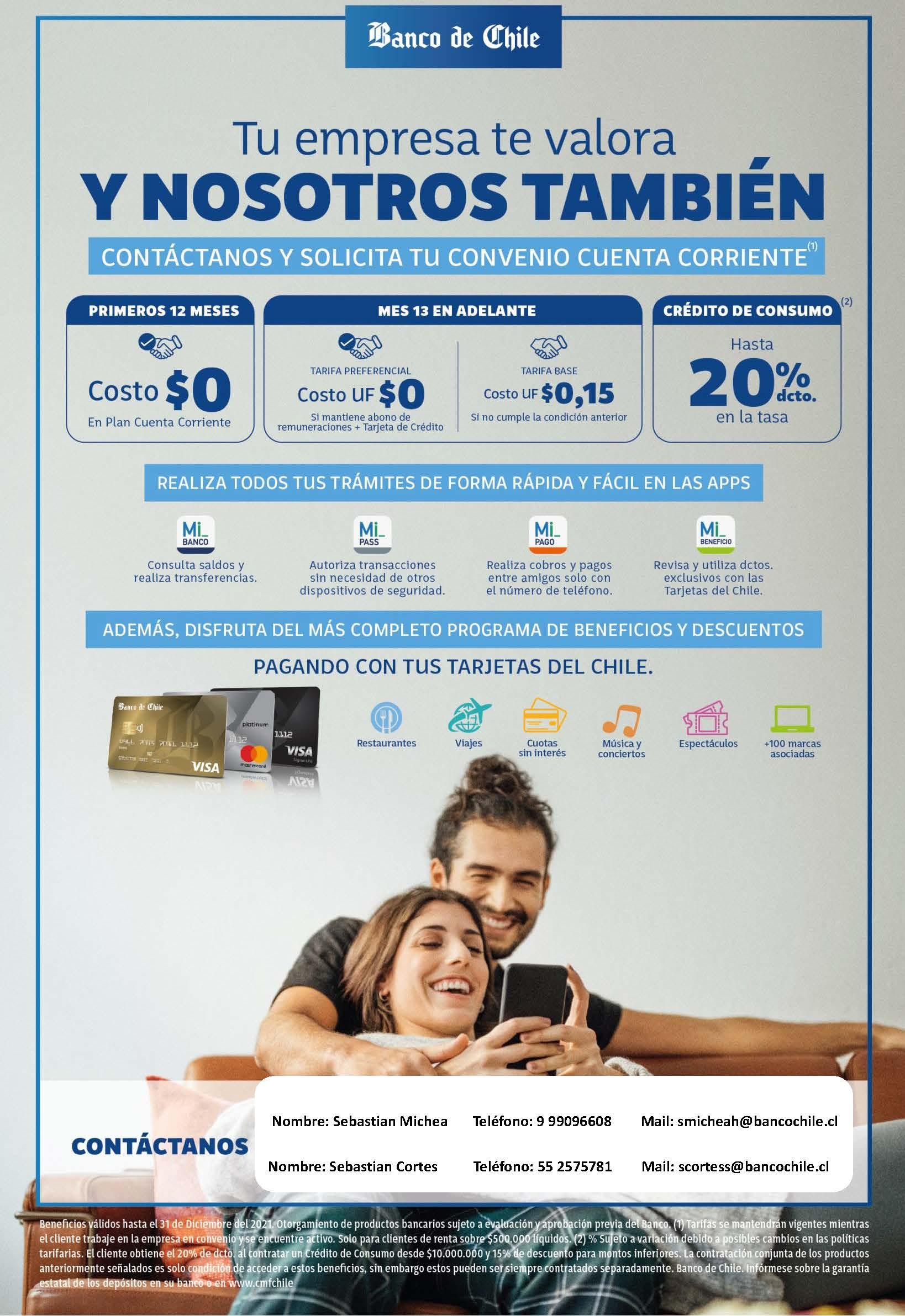 Beneficios Banco de Chile – Marzo